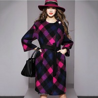 2014 Autumn and Winter Fashion Brief Multicolour Plaid Wool Overcoat Female Medium-Long Woolen Outerwear