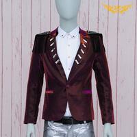 HOT!! 2014 New fashion Diamond men blazers suit slim dj personality male suit jacket coats
