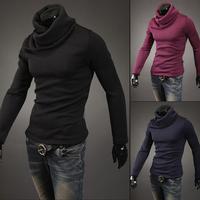 2014 winter turtleneck  New Arrival Korean Version Warm Sweater Men Slim Turtleneck Heaps Collar Knit Pullover Black Grey M /XXL