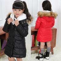 NEW 2014 Winter Large Fur Collar Children Girls Kids Long Design Hooded Down Jackets Fashion Thicken Warm Parkas Coats Outerwear