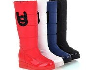 Free shipping thickening thermal knee-high female cotton-padded shoes quality plus velvet down platform snow boots white