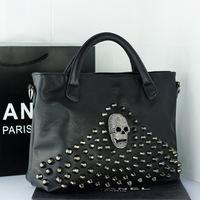 2014 fashion rivet skull women's  handbag casual punk women's handbag portable zipper shoulder bag European and American style