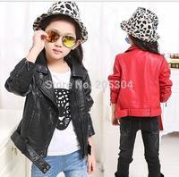 2014 autumn and winter fashion plus velvet thickening children's clothing female child short design PU clothing child outerwear