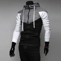 Men autumn male slim patchwork zipper with a hood sweatshirt free shipping