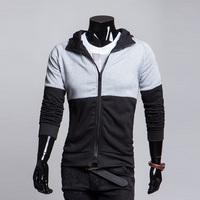 2014 color block decoration slim hoodies with a hood sweatshirt free shipping