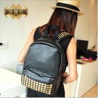 New 2014 Fashion Japan and Korean Style men's backpacks school bag Rivet Vintage bag PU leather travel bags women Backpack