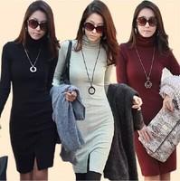 autumn winter bodycon dress women bandage dress turtleneck long-sleeve office dress plus size women work wear clothing clothes