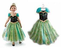 2014 New Frozen Elsa Cosplay Stage Costume Girls Short Sleeve Dress Sequined Frozen Princess Birthday Party Dress.