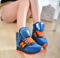 2014 autumn and winter female  shoes casual sports cotton-padded shoes high  student cotton-padded shoes