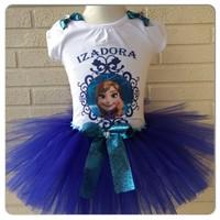 October Children's clothing wholesale 31458 frozen Girls Anna Bow short-sleeve Ball Gown dresses 5pcs/lot