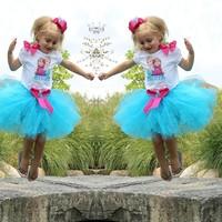 October Children's clothing wholesale 31459 Girls frozen Elsa&anna short-sleeve Bow Ball Gown dresses 5pcslot