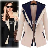 New 2014 fashion casual autumn women's slim zipper false 2-pcs hooded jacket lady's Patchwork Suit jacket M,L,XL Free Shipping