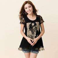 Plus size women's clothing 2014 summer top shirt lace short-sleeve T-shirt large female shirt girl t-shirt lady's clothing