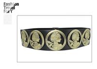 Beauty head portrait belt female all-match elastic decoration popper vintage metal black genuine leather belt