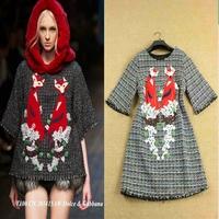 2014 autumn fashion elegant embroidered fox pattern one-piece dress half sleeve casual loose dress
