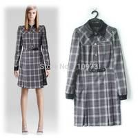 Designer Brand European & American Runway Fashion Style Classic Plaid Print Women Winter Dress Elegant Lady Formal Office Dress