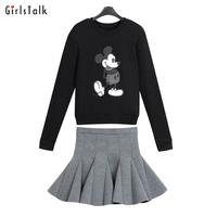 2014 fashion plus size set thickening cartoon pullover sweatshirt female ruffle fish tail bust skirt twinset