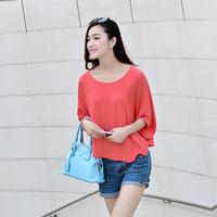 Autumn women's short-sleeve half sleeve short design women's t-shirt loose batwing shirt