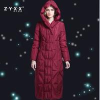 Branded Womens Fashion Winter X-Long Duck Down Coat & Jackets Slim Plus Size Over-the-knee Black Red Grey 2XL 3XL 4XL XXXL XXXXL
