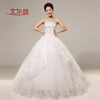 Elegant Women Bridal Sheer Layer Party formal Ball Gown princess wind diamond Beading lace tube top bow wedding dress LF384