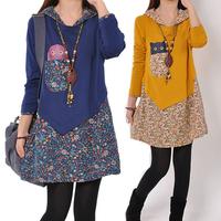 2014 women's spring and autumn loose long design t-shirt plus size basic long-sleeve shirt female shirt