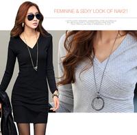 2014 autumn and winter one-piece dress V-neck long-sleeve basic  plus size clothing 6510