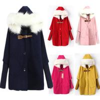 Hotsale fashion women wool coats fur with cap female woolen cloak outerwear fur collar medium-long blended wool coat B-2021