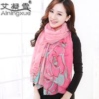 2014 fluid flower leopard print scarf lengthen women's muffler scarf dual cape silk scarf
