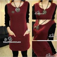 2014 autumn women's thickening women's top slim long design long-sleeve sweater   t plus velvet basic shirt female