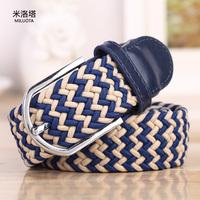 2014 New Free Shipping brand belts Elastic waistband elastic woven belt men women wild casual belt buckle Korean wave