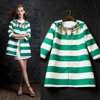 New arrival 2014 women's stripe print gem fashion beading three quarter sleeve casual clothing outerwear