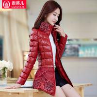 Wadded jacket female medium-long 2014 winter thickening cotton-padded jacket female autumn and winter slim PU cotton-padded