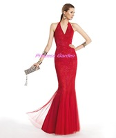 Gorgeous noble style beautiful red halter v neck with appliques tulle floor length formal occasion evening dresses ED106