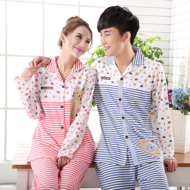 Autumn and winter full 100% cotton lovers sleepwear stripe cardigan kitten male women's lounge plus size long-sleeve sleepwear(China (Mainland))