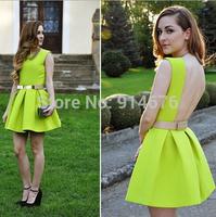 Sexy Backless Nightclub Ball Gown 2014 New Women Tunic Dresses Casual Sleeveless Mini Dress ,Free Shipping
