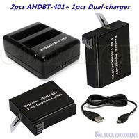 New arrival good Akku 2pcs 1200mAh AHDBT-401 battery + AHDBT401 Dual USB Charger for GoPro HD Hero4 HERO 4 accessory