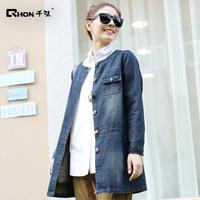 The new large size women's long coat 100% cotton round neck long-sleeved denim jacket