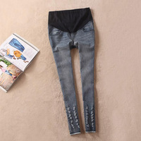 Maternity clothing fashion long jeans skinny pants hole spring and autumn belly pants xcd2080-820