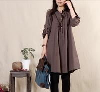 2014 autumn loose shirt Large plaid expansion bottom hemp cotton linen mm plus size clothing one-piece dress