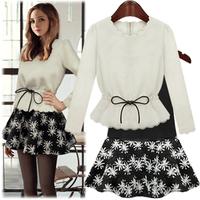 2014 spring women's autumn and winter one-piece dress long-sleeve slim basic skirt twinset fashion