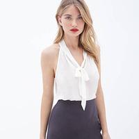 European Style Women Fashion Chiffon Tank Top Deep V-Neck Front Bow Strapless Back Slit Transparent Top Two Color Six Size D586