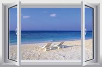 Beach Landscape Simulation fake window sticker 120*80cm sofa background bedroom  art Removable wall sticker removable hj-30