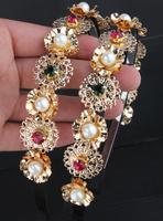 2014 new luxury hollow metal pearl flower hair hoop headband hairpin female headdress