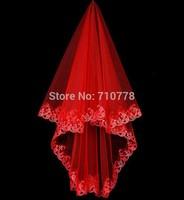 130cm Red Bridal Veils Elegant Wedding Accessories Dress Bride Cathedral Chapel white veil