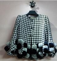 2014 autumn classic houndstooth fur ball patchwork short design woolen outerwear female short jacket
