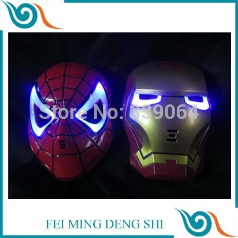 Presente de ano novo decoração de natal diodo emissor de luz brinquedos meninos homem presente ferro super herói homem aranha máscara spiderman crianças máscara(China (Mainland))