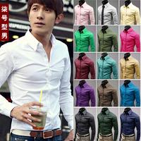 Men's clothing 2014 male slim long-sleeve shirt autumn new arrival male 100% cotton long-sleeve shirt male