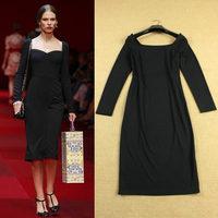2015 fashion quality square collar elastic knitted formal black dress long-sleeve