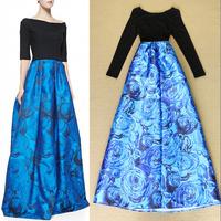 Fashionable 2014 elegant blue rose print patchwork sexy evening dresses mopping the floor full dress slash neck
