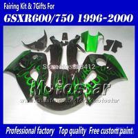 Motocycle fairings for 1996 1997 1998 1999 2000 suzuki GSXR600 SRAD GSXR750 GSXR 600 750 96 97 98 99 00 green flame in black fai
